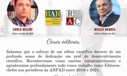 Após 3 anos de serviço pro bono deixo a editoria da revista de administração contemporânea-RAC